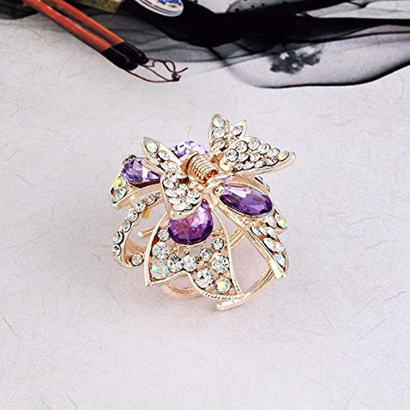 ドアミラー感じる乗り出すHuaQingPiJu-JP 1Pc DIY魔法の髪の女性の女の子ヘアピン蝶のヘアクリップパーティーヘアスタイルツールアクセサリー(紫)