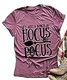 It's Just A Bunch of Hocus Pocus Halloween T-Shirt Women's Short Sleeve Sanderson Sisters Graphic Tee Top (Purple, M)