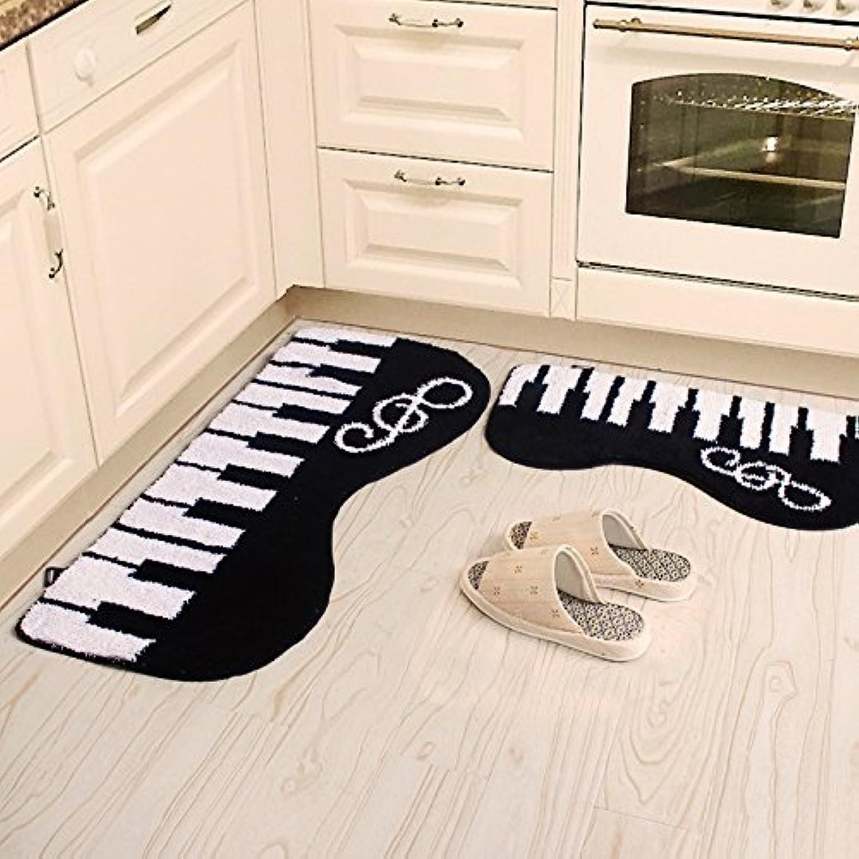 Ustide 2-Piece Black and White Piano-Shaped Carpet Bedroom Rug Set Soft and Shag Bathroom Mat Set Non-Slip Floor Runner Rugs (17 x31 +19 x47 , Black)