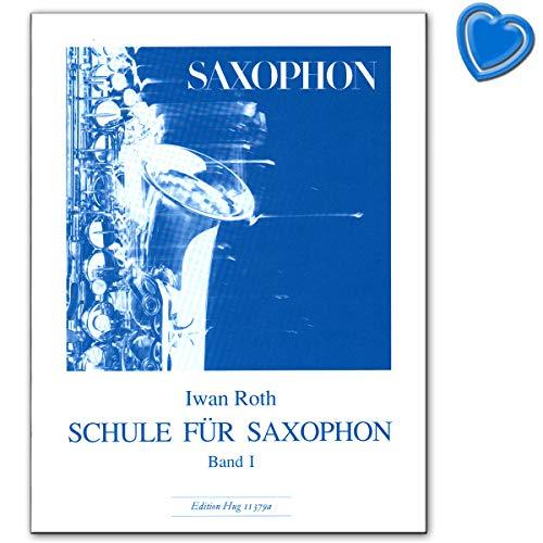 Ivan Roth voor saxofoon band 1 - leerboek met kleurrijke hartvormige muziekklem - Edition Hug GH11379A 9790202810231