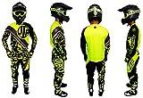 Tuta fluo militare, set maglia e pantaloni, guanti per moto da cross, quad, MTB, BMX, JLP Racing, taglia 36 US/XL