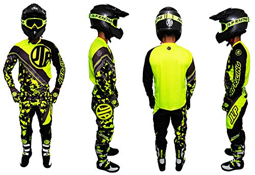 Kinder-Outfit 9 – 10 Jahre Moto Cross Quad MTB BMX Hose Handschuhe Trikot Neon Gelb JLP Racing Größe 26 US/XL