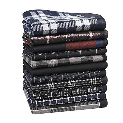 HOULIFE Herren Schwarz Taschentücher aus Reiner 60S Baumwolle 43x43cm 11 Dunkle Farbe Muster für Alltagsgebrauch 11 Stücke