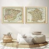 HUANGXLL Vintage Country Map Francia España Portugal Posters Lienzo Pintura Arte de la Pared Imagen Impresa para el Interior de la Sala de Estar Decoración del hogar-40x60cmx2Pcs-Sin Marco