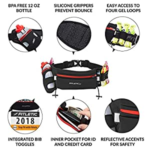 Fitletic Hydration Belt for Women S/M Black & Pink