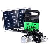 Tutoy 6W 6V Panel Solar Portátil Solar AC Kit Solar Sistema De Alimentación Camping Generador Portátil con Bombillas - Verde