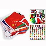 Itian® Banderines con banderas del mundo - 100 países banderas, 14cm * 21cm
