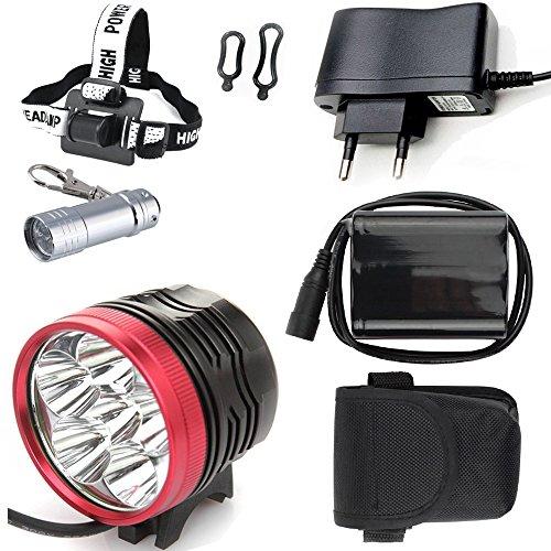 LED Linterna LáMPARA TORCH frontal Cabeza 6x CREE XM-L T6 /CREE 6X 7200 lúmenes LED de bicicleta /bici lámpara Luz LED frontal para manillar de bicicleta bicicletas (6 focos, 3 modos) con 6x16850 batería y cargador & Llavero Linterna