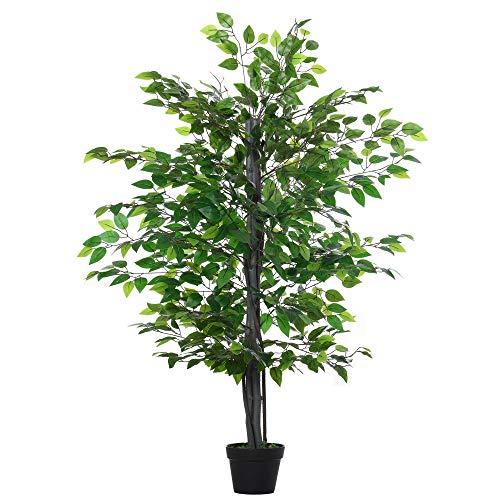 Outsunny Árbol de Ficus Artificial de 145 cm de Altura 756 Hojas con Maceta para Decoración de...