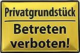 Deko7 Blechschild 30 x 20 cm Warnschild - Privatgrundstück - Betreten verboten