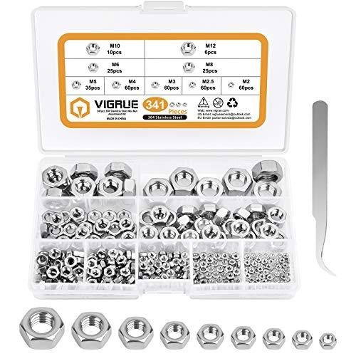 VIGRUE 341 Stück Sechskantmutter, M2, M2.5, M3, M4, M5, M6, M8, M10, M12 Kontermuttern Nach DIN 934/ISO 4032 Standard 304 Edelstahl Schraubenmuttter