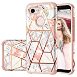 Fingic Google Pixel 3 Case, Pixel 3 Case Rose Gold Marble Design Shiny Glitter Bumper Hybrid Hard PC Soft Rubber Silicone Cover Anti-Scratch Shockproof Protective Case for Google Pixel 3 (2018) - Pink