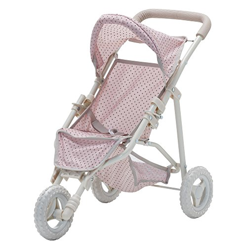 Olivia's Little World - Polka Dots Princess Baby Doll Jogging Stroller - My First Foldable Baby Doll Stroller with Basket for Doll Accessories - Gift Toys for Girls - Pink & Gray