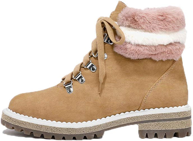Ailj Snow Boots, Ladies Platform Velvet Straps Winter Boots Round Head Martin Boots (Brown) (color   Brown, Size   EU 35 US 4 UK 3 JP 22.5cm)