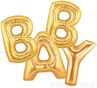 16 Inch Foil Mylar Balloons Banner for Wall Decoration (Premium Quality, Air-Fill Only, Cannot Float), Matte Gold, Letters...