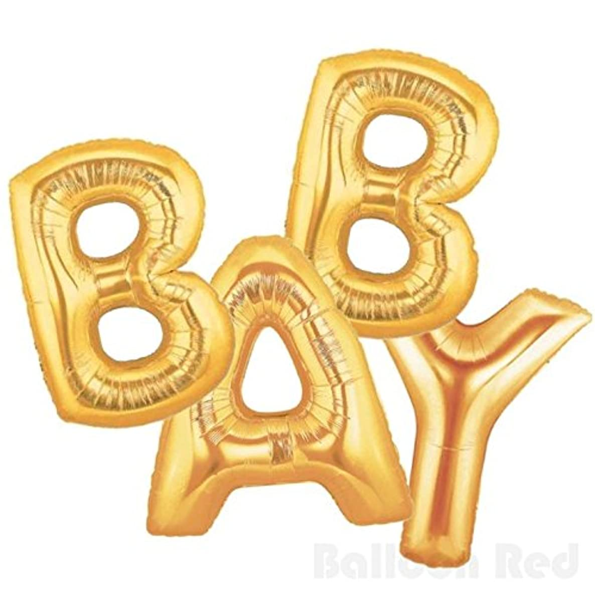 16 Inch Foil Mylar Balloons Banner for Wall Decoration (Premium Quality, Air-Fill Only, Cannot Float), Matte Gold, Letters Baby