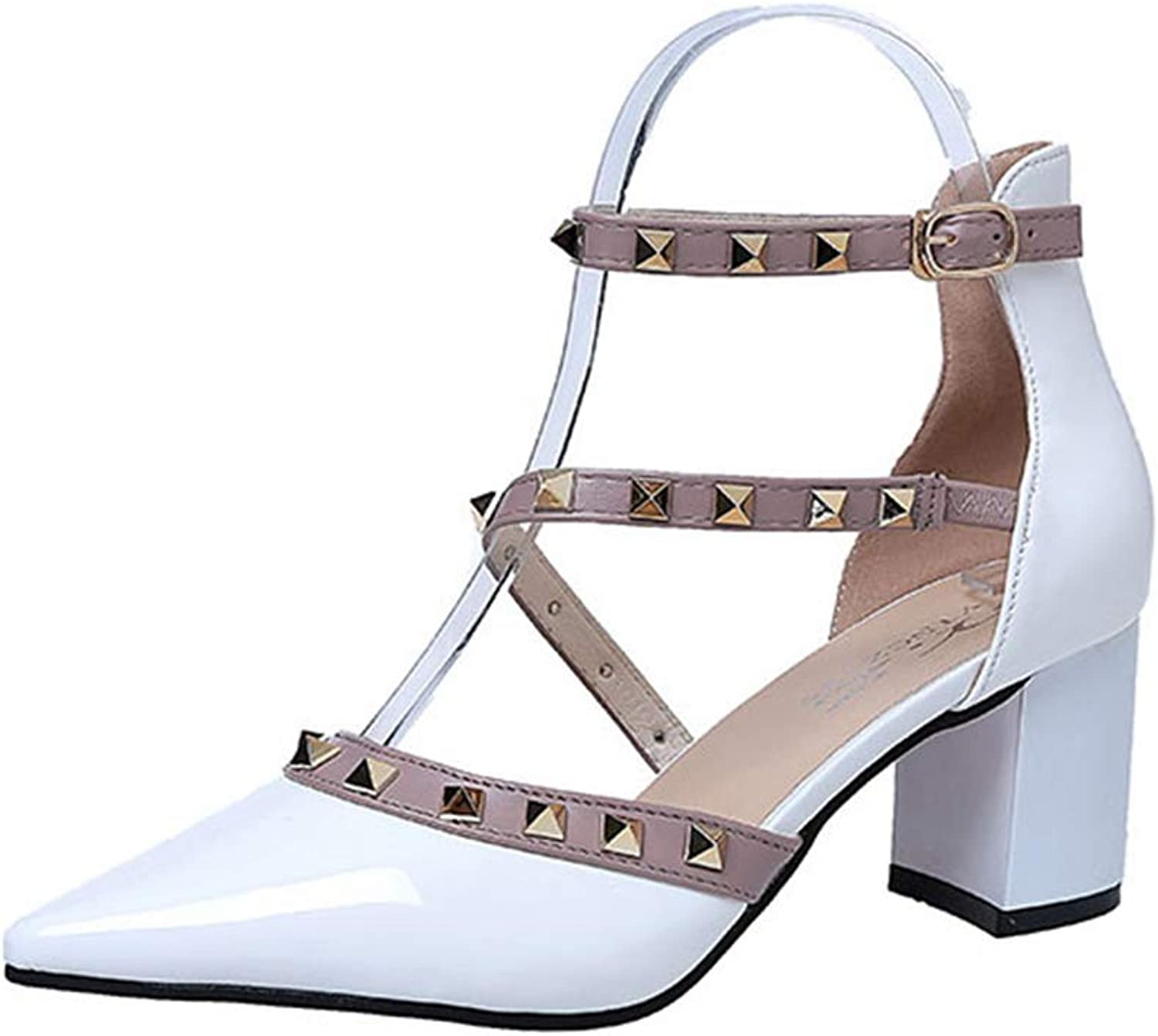 Kyle Walsh Pa Women's Pumps Sandals Ankle Strap Block Heel Sexy Pointed Toe Hasp Rivet Female High-Heeled shoes