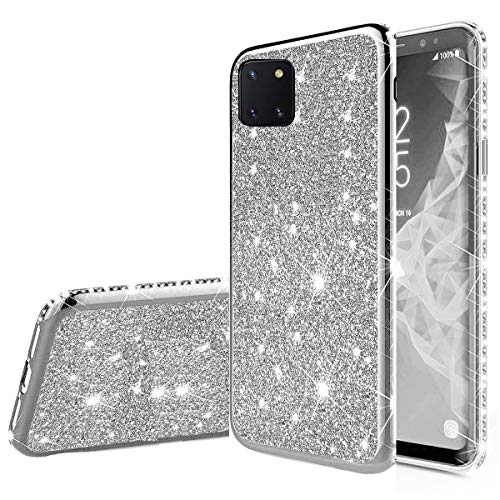 Nadoli Bling Custodia per Galaxy Note 10 Lite,Ultra Sottile Glitter Skin Morbido Diamante Placcatura Telaio Brillante Silicone Protettiva Case Cover per Samsung Galaxy Note 10 Lite