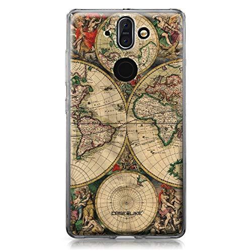 CASEiLIKE Nokia 8 Sirocco Hülle, Nokia 8 Sirocco TPU Schutzhülle Tasche Hülle Cover, Weltkarte Weinlese 4607, Kratzfest Weich Flexibel Silikon für Nokia 8 Sirocco
