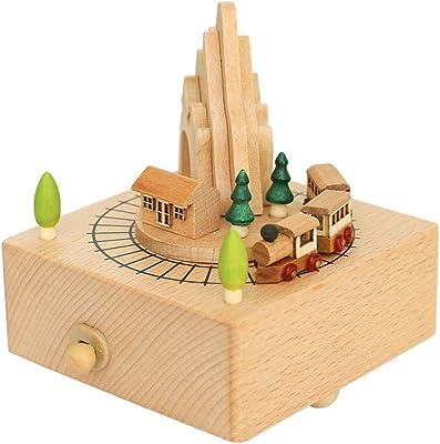 AIJOAN-BJ Estatua Animal Estatuas Roller Train Spinning Wood Caja ...