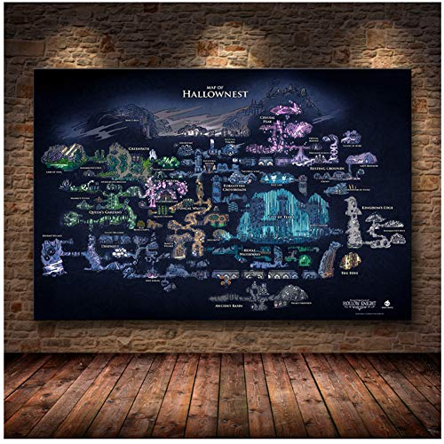 Hollow Knight Map The Game Poster Decoración de The on HD Canvas Canvas Painting of Hallownest Poster Wall Art canvas-60x80cm-Sin Marco