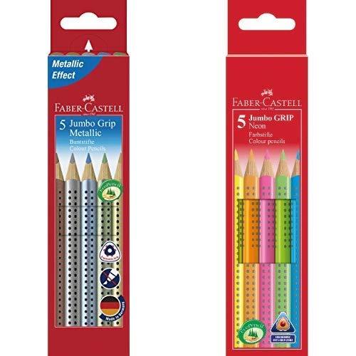 Faber-Castell 110993 - Buntstift Jumbo Grip Metallic, 5er Etui & 110994 - Buntstifte Jumbo Grip Neon, 5er Etui
