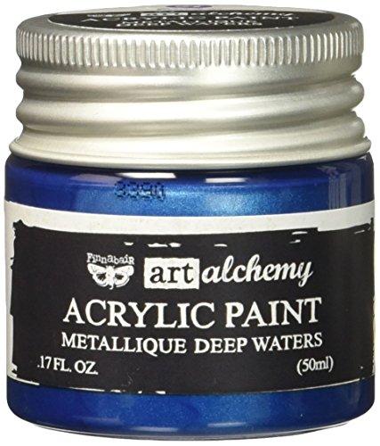 Prima Marketing 963118 Finnabair Art Alchemy Acrylic Paint, 1.7 fl. oz, Metallique Deep Waters