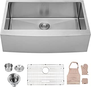 LORDEAR LA3621R1 Commercial 36 Inch Farmhouse Apron Single Bowl 16-gauge 10 Inch Deep Stainless Steel Kitchen Sink
