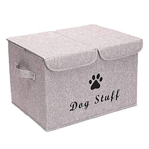 Pethiy Cajas de almacenamiento grandes de tela de lino plegables cubos de almacenamiento contenedores con tapa y asas para ropa de perro y accesorios, juguetes para perros (marrón claro)