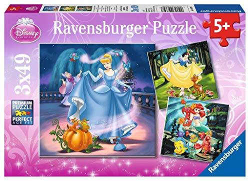 Ravensburger Puzzle 3 x 49 piezas, Disney Princess Color rosa 5+ 9339