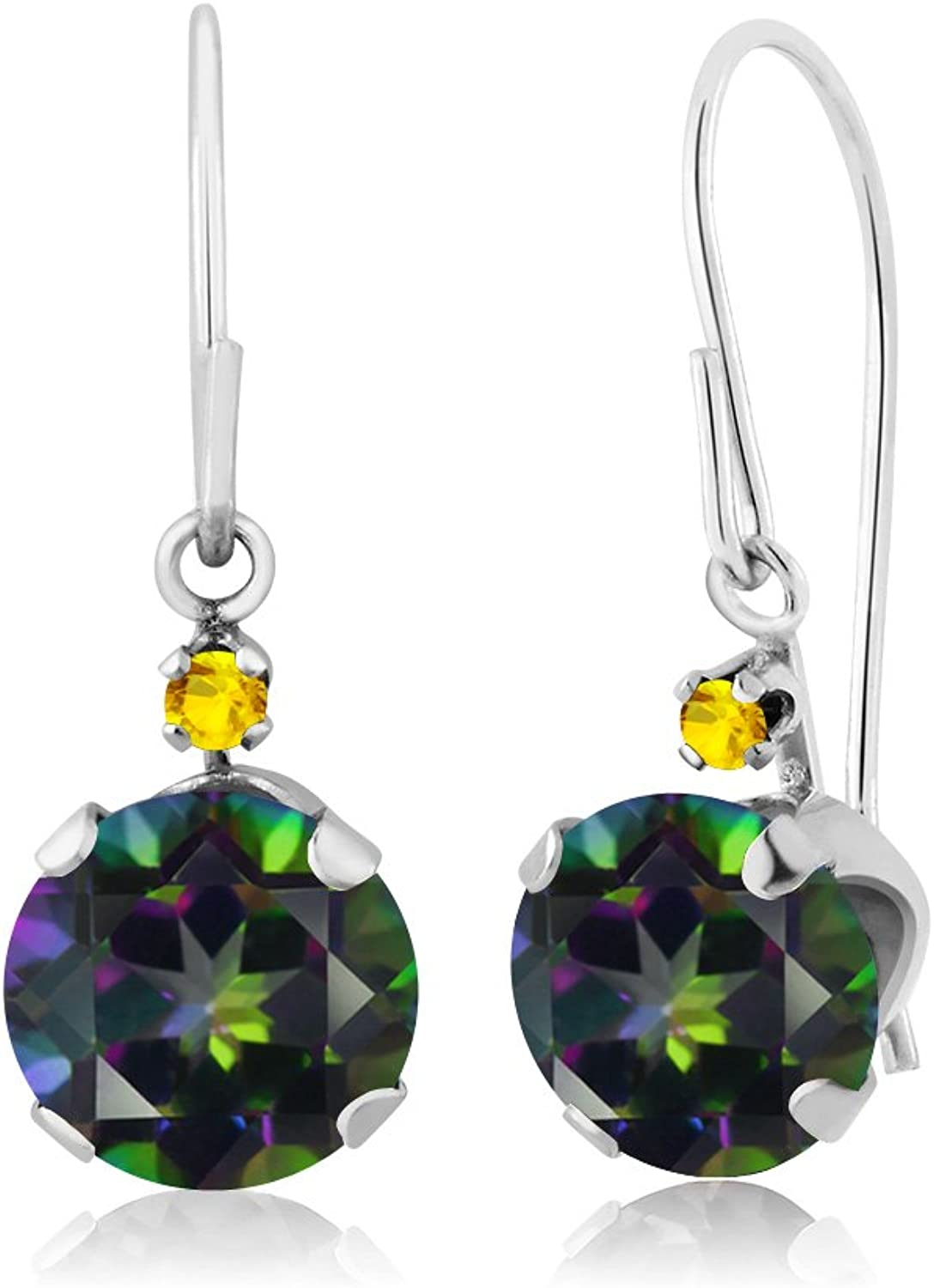 2.06 Ct Round Green Mystic Topaz Yellow Sapphire 14K White gold Earrings