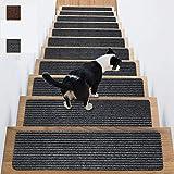 KAZOLEN - Set di 2 gradini per scale, 20 x 76 cm, antiscivolo e anti rumore, per interni autoadesivi in legno, per bambini e neonati, colore: Grigio