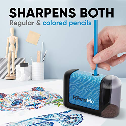 POWERME Electric Pencil Sharpener - Pencil Sharpener Battery Powered for Kids, School, Home, Office, Classroom, Artists – Battery Operated Pencil Sharpener For Colored Pencils, Ideal For No. 2 (Blue)