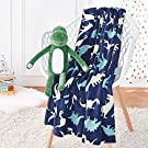 AmazonBasics Kids Dinosaur Squad Patterned Throw Blanket with Stuffed Animal Dinosaur