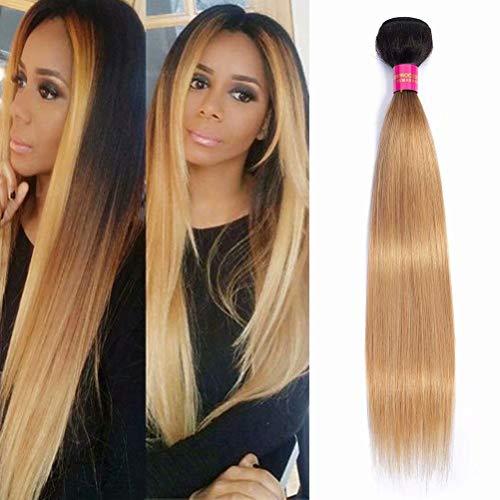 FEEL ME Straight Ombre Human Hair Bundles 1b/27 Honey Blonde Ombre Brazilian Hair Weave Bundles Unprocessed Straight Virgin Hair Extensions 100gram(18 Inch)