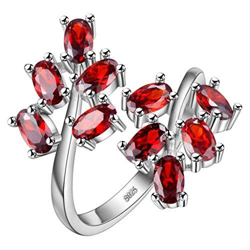 HMILYDYK - Anillo abierto ajustable chapado en plata de ley S925 con circonita y cristales de rubí, diseño tipo rama