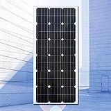 ZSPSHOP La Placa De Energía Solar del Panel Fotovoltaico De Silicio Policristalino/Monocristalino De 100W Puede Cargar Una Batería De 12V,Singlecrystal