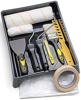 scheda tradelux® rullo per pittura professionale teli antigoccia pennelli set kit fai da te verniciare imbiancare taglierino spatola stucco per tinteggiare decorazioni casa