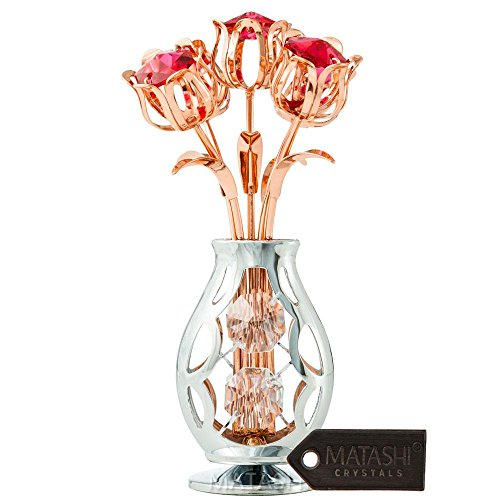 Matashi Rose Gold and Chrome Plated Flowers Bouquet and Vase Ornament with Crystals Home Decorative Tabletop Showpiece for Living Room Bedroom Gift for Christmas Valentine's Day Mother's Day Birthday