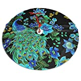 Xiguage Christmas Tree Skirt with Beautiful Elegant Peacocks for Xmas Decor Festive Holiday Decoration, 35.8 Inch in Diamete