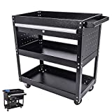 3-Tier Rolling Tool Cart, 330 LBS Capacity Utility Cart with Drawer, Industrial Commercial Service Cart, Keyed Locking System Tool Organizer for Garage and Warehouse (black)