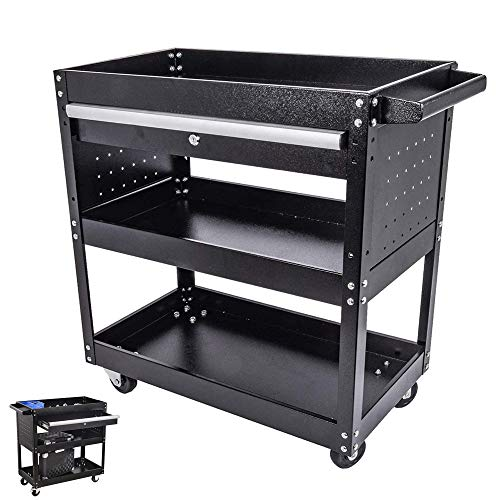 Big Tool Cart,3-Tier Rolling Tool Cart, 330 LBS Capacity Utility Cart with Drawer and Wheels,Big Tool Storage Cart and Tool Organizer,Tool Cart&Tool Chest for Garage and Warehouse (Black)