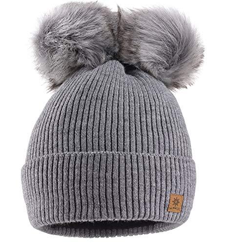 MFAZ Morefaz Ltd Mujer Gorro de Invierno Beanie Sombrero De Invierno Doble Pompón Esquí de Moda (Grey)