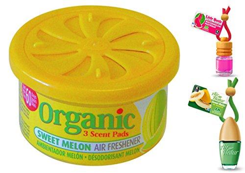 Meloen zomer geurset 1 stijlvolle modieuze Air Nature Little Bottle geurflacon 6 ml + 1 Little geurflacon 4,5 ml luchtverfrisser auto en kamer geur + 1 Organic Can geurdoos