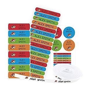Pack 155 etiquetas personalizadas para marcar ropa y objetos. 100 Etiquetas de tela termoadhesiva + 55 etiquetas adhesivas de vinilo. (Color 1)