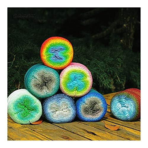 Cmdzsw Lente en zomer Cake Garen Sectie Geverfd garen met de hand gebreid Fancy Cotton Yarn Gradient gekleurde garens Haak Sjaal Deken Garen haak (Color : 005 Macaroon)