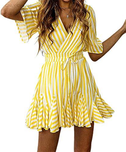 ONLY CHARM Damen Sexy V Ausschnitt Kleid, Streifen Freizeit A-Line Sommerkleider Drucken Kurzarm Kurzer Strandkleider, Gelb,S