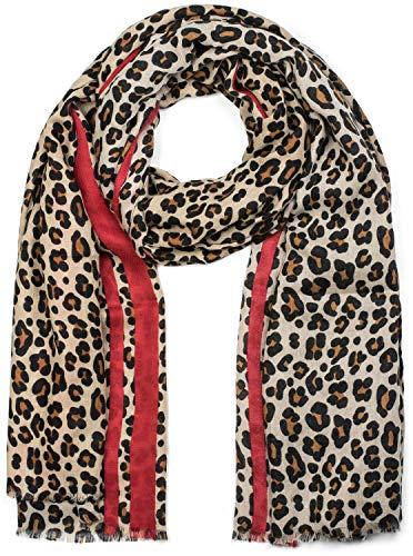 styleBREAKER chal de mujer con motivo de leopardo, coloridas rayas y flecos, chal de invierno, estola, pañuelo 01017082, color:Marrón-rojo