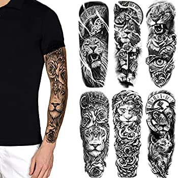 Fake Lion Sleeve Tattoo Stickers 6-Sheet Full Arm Lion Tiger Wolf Animal Temporary Tattoos Sleeves for Adult Kids Women Makeup