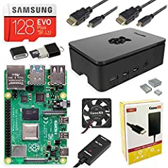 Includes Raspberry Pi 4 8GB Model B with 1.5GHz 64-bit quad-core ARMv8 CPU (8GB RAM) 128GB Samsung EVO+ Micro SD Card (Class 10) Pre-loaded with NOOBS, USB MicroSD Card Reader CanaKit Premium High-Gloss Raspberry Pi 4 Case with Integrated Fan Mount, ...